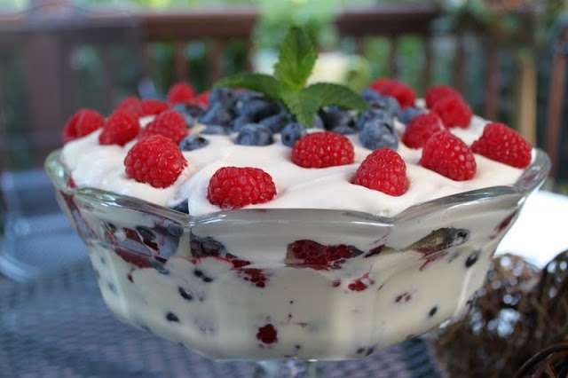 Red, White, and Blueberry Trifle | Desserts | Pinterest