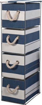 Buy Tall 4 Drawer Storage Tower - Blue and White at Argos.co.uk, visit Argos.co.uk to shop online for Bathroom shelves and units