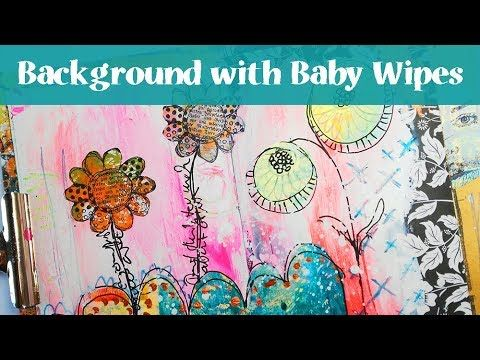 Mini Art Journal Page - Background with Baby Wipes, Rubber Dance Stamps & Gelli Printed Deli Paper