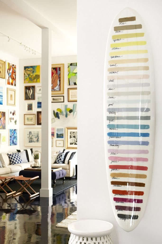 Paint color swatches displayed on surf board at Serena & Lily Design Shop in SF