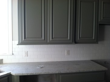 Off White Matte 3x6 Subway Tile Dark Green Gray Cabinets White Kashmir Granite Kitchen Ideas