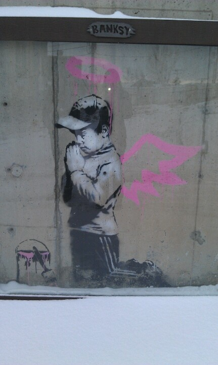 Banksy street art in Park City, Utah
