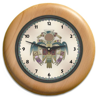 Bird Man Round Wood Wall Clock - From our Southwestern Clocks category, this clock features a Native American Thunderbird symbol.  $63.00