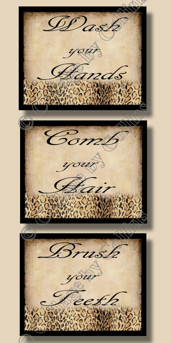 Cheetah Leopard Animal Print Bathroom Wall Word Art Decor Bath Bathroom Rules Wash Comb Brush Vintage Look Unframed Picture Photo Paper