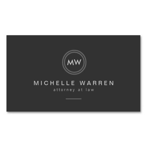 Modern Circle Monogram Initials Professional Business Card Template for Attorneys, Lawyers, or any profession. Easy to personalize.