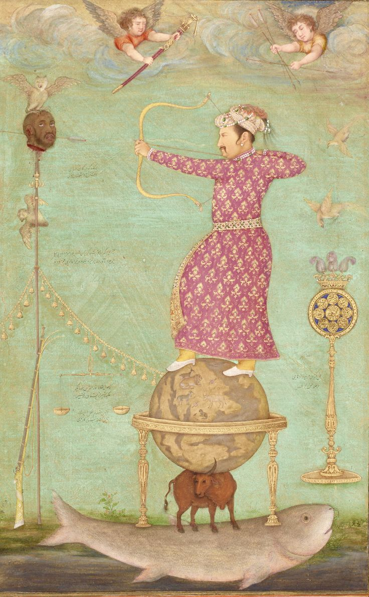 Jahangir shoots an arrow in this propaganda miniature painting through the severed head of his enemy (not named) but suspected to be Malik Ambar of Ahmednagar.