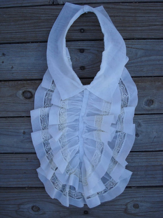1960s White Ruffled Jabot Collar Dickey by bycinbyhand on Etsy, $18.00