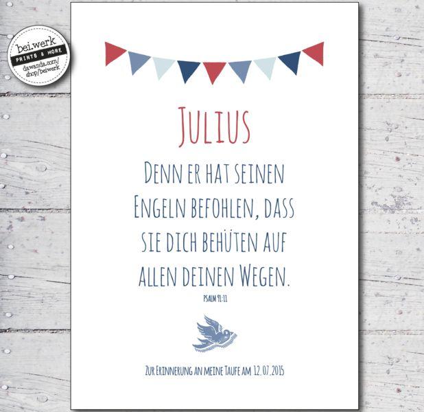 """Taufspruch+-+Segenswunsch+""""JULIUS""""+von+bei.werk+?+prints+&+more+auf+DaWanda.com (Diy Geschenke Jungs)"""