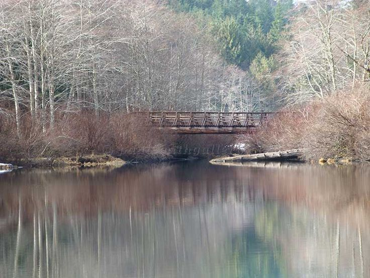 A bridge that crosses Drum Lakes to the Crest Mountain trail in Strathcona Park on Vancouver Island. http://www.paulsmithgallery.ca
