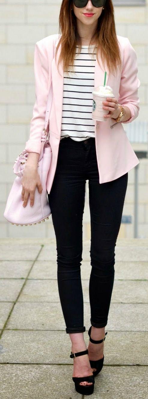 Women's fashion | Striped shirt, pastel pink blazer, skinnies and heels