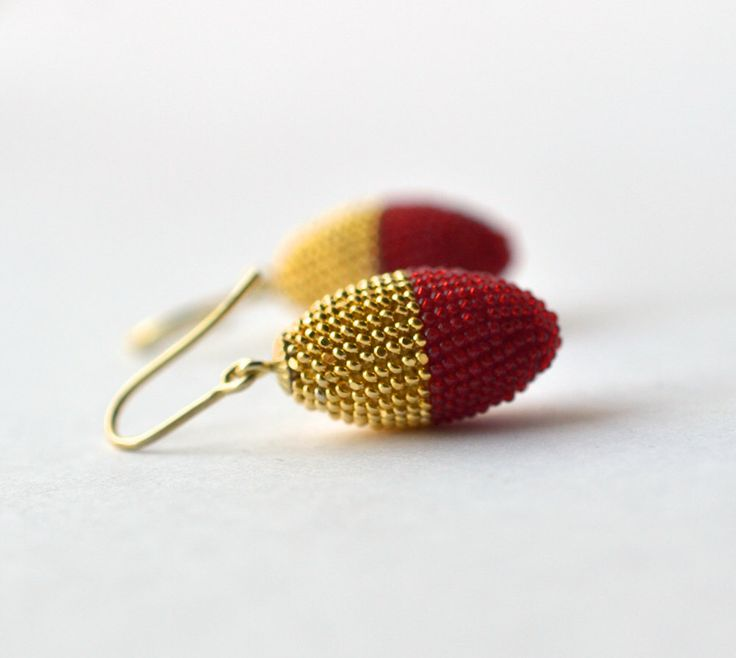 chinese wedding  -- olive earrings  gold red by Donauluft on Etsy https://www.etsy.com/listing/188057283/chinese-wedding-olive-earrings-gold-red
