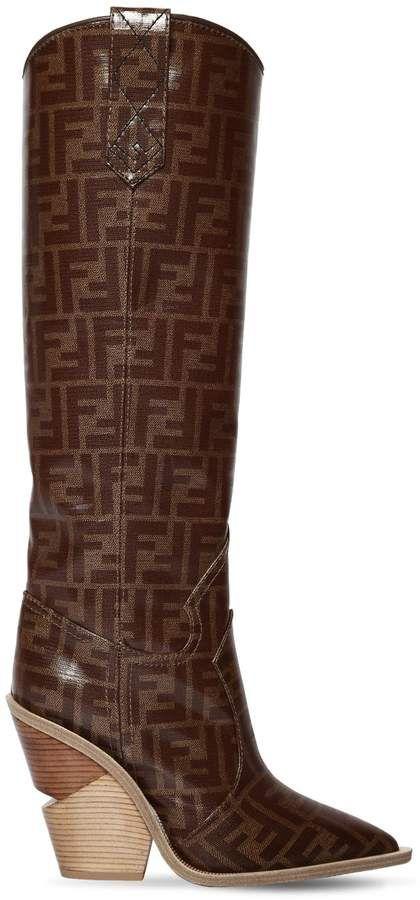 46cb860a31b4 Fendi 100mm Ff Print Cowboy Tall Boots
