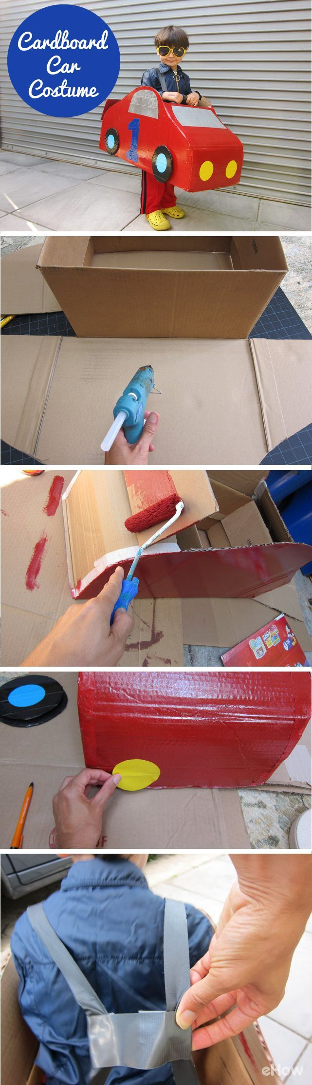 How cute is this cardboard car costume! What little boy or girl wouldn't want to race around in one of these! Great for Halloween if you want to go for more of a Disney Cars angle, or even just great for playtime throughout the year. Grab the DIY here: ht (Halloween Crafts For 2 Year Olds)