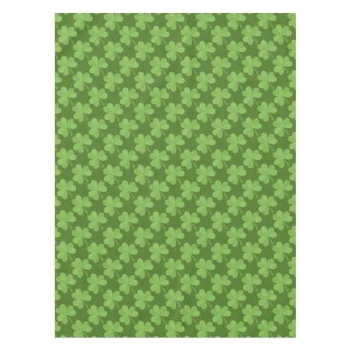 St. Patrick Shamrock Clovers Green Pattern Ireland Love Tablecloth