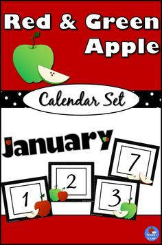 Clean and classic, this calendar set will keep your classroom looking neat and organized all year. Red and green apples decorate black and white themed calendar squares and labels.