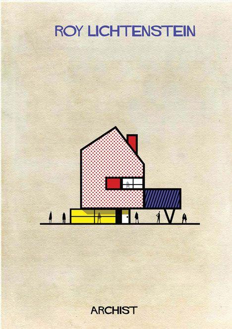 Art meets architecture in Federico Babinas Archist Series - Lichtenstein. Image via Dezeen.