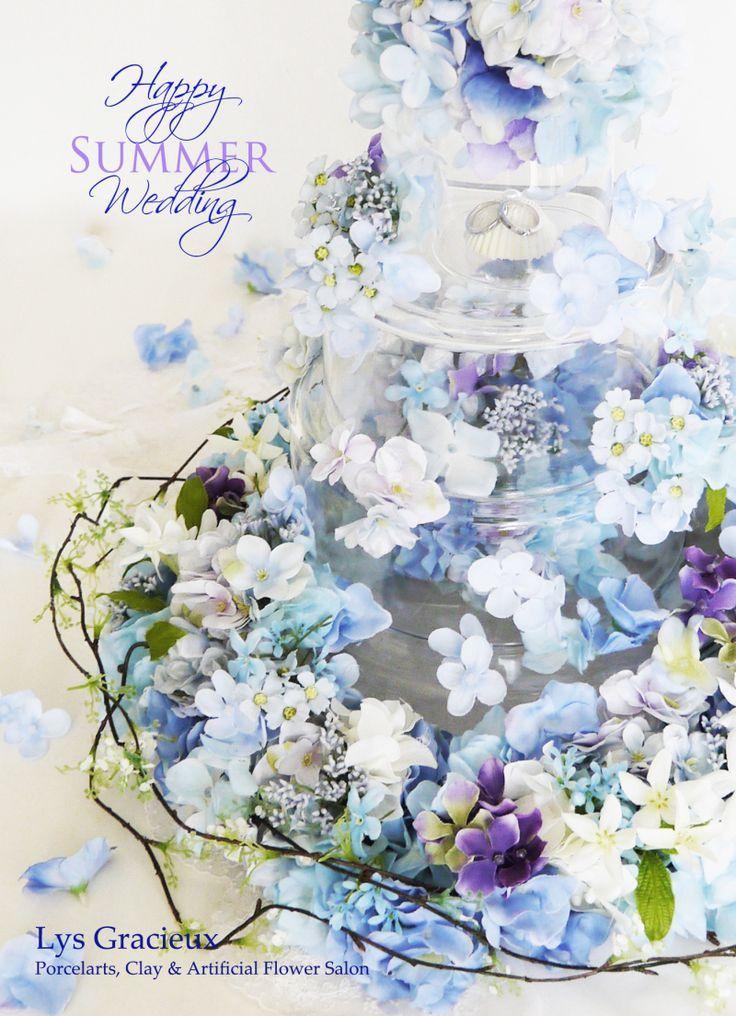★Happy Summer Wedding♪札幌花材様展示作品☆|札幌ポーセラーツ・フラワー・クレイLys Gracieux〜リスグラシュ〜 blue#flower#wedding#cake#glass#hydrangea#Sapporo#Japan#Wedding#ring#札幌#円山#lysgracieux#リスグラシュ#ポーセラーツ#クレイ#フラワー#ポーセリンアート#ハンドメイド#porcelainart#porcelarts#clay#flower#handmade#beautiful#