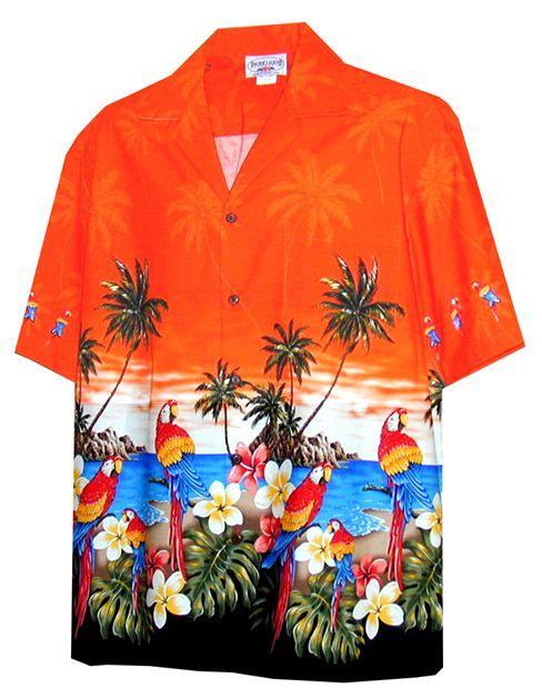 Men's Parrot Hawaiian Border Shirt 440-3468 [Orange] - Men's Hawaiian Shirts - Hawaiian Shirts   AlohaOutlet SelectShop