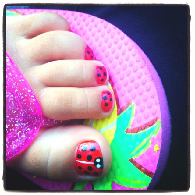 Ladybug pedicure (on my gabs ❤)