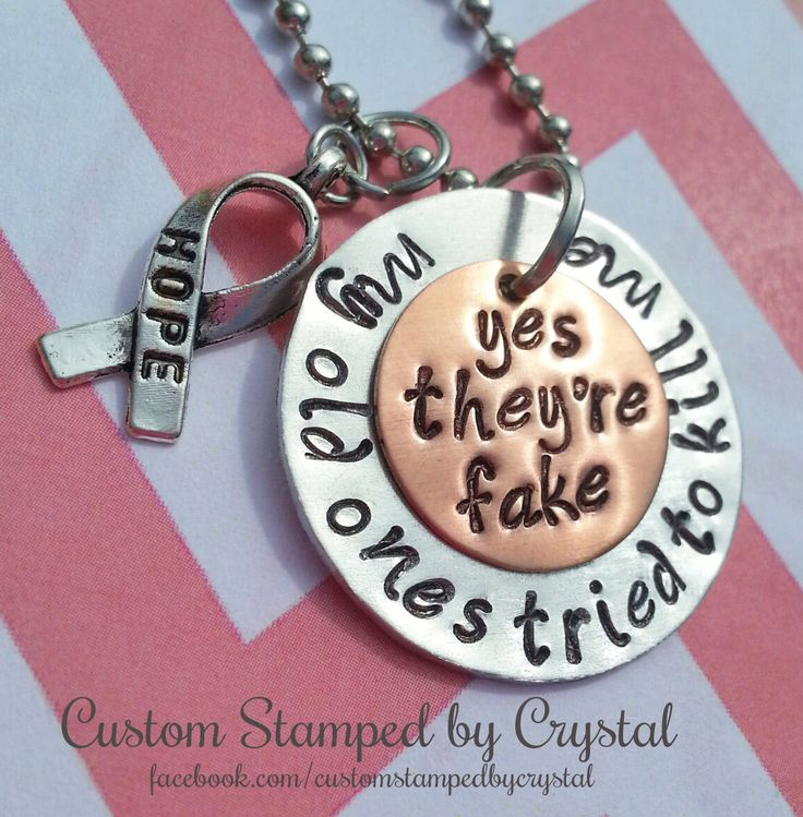 Yes They're Fake Breast Cancer Survivor Necklace by CustomStampedbyCrys on Etsy