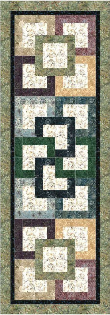 """This bed runner quilt pattern is 2-1/2"""" friendly. Use your favorite Bali Pop or Jelly roll and a background fabric. Finished size is 27"""" x 77""""."""