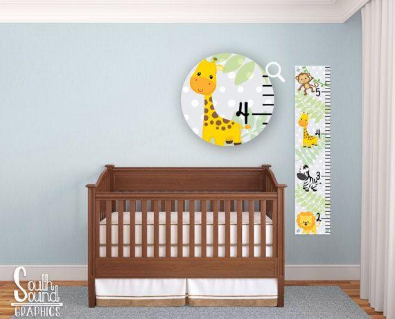 Kids Growth Chart - Boys Zoo Animals Room Wall Decor - Jungle Custom Wall Hanging - Zoo Children's Growth Chart - Baby Jungle Animal Bedroom