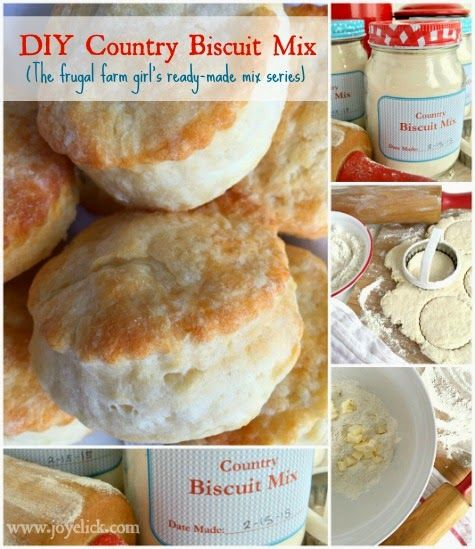 Homemade COUNTRY BISCUIT MIX: The frugal farm girl's DIY ready-made mix series. (Lots of mix posts with FREE PRINTABLES). Farm Girl Inspirations: www.joyelick.com.