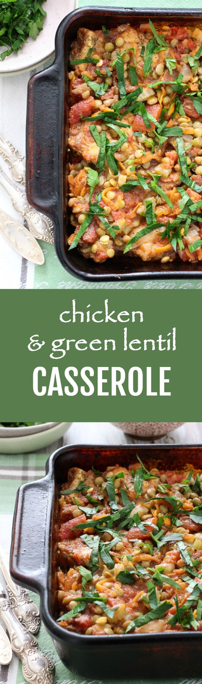 Chicken and Green Lentil Casserole - a comforting, flavorful, and protein rich dish. Just place all the ingredients into a baking dish and let the oven do its magic.
