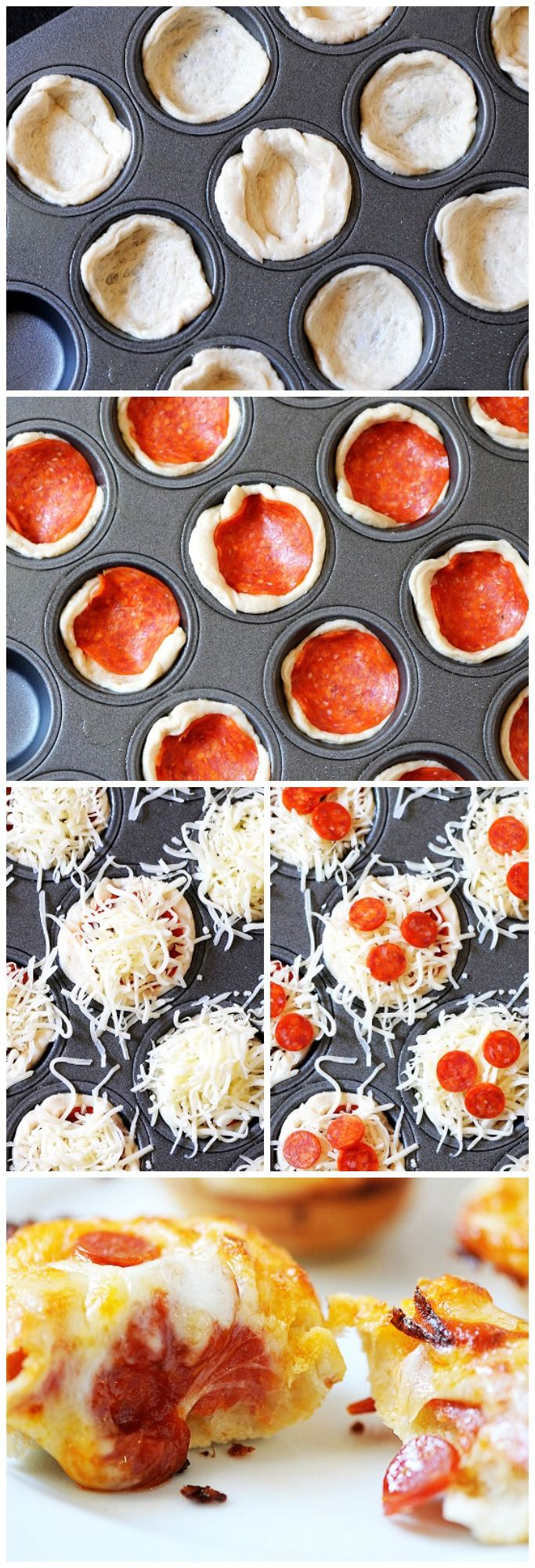 Picnic style finger food - mini deep dish pizzas!