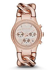 Mid-Size Rose Gold Tone Stainless Steel Runway Twist Chronograph Glitz Watch