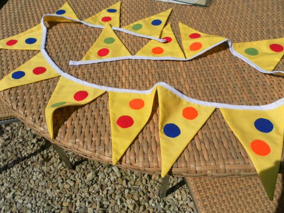 Yellow Spotty Bunting Perfect for Mr Tumble by TheGiddyGiraffe, $23.50