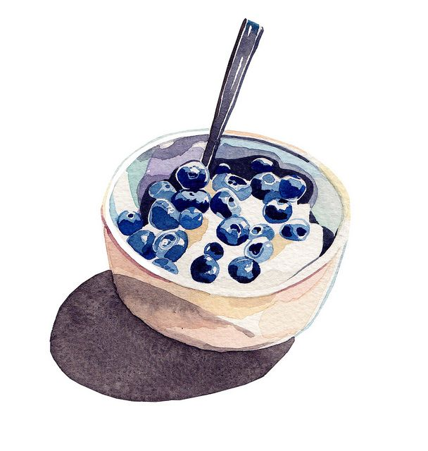 """""""life is a work of art""""Exley Illustration, Watercolors, Art, Holly Exley, Breakfast Food, Blueberries, Painting, Food Illustrations, Bowls"""