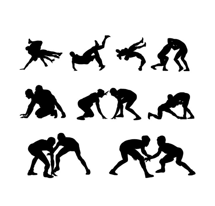 Wrestling Player Silhouettes