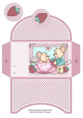 Strawberry Mice Money Wallet on Craftsuprint designed by Janet Roberts - This cute wallet goes with my 'Strawberry Mouse' mini kit. See the link below - Now available for download!