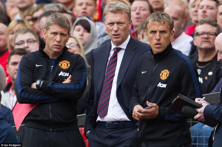 Manchester United assistant manager Steve Round (left) left Manchester United with David Moyes (centre)