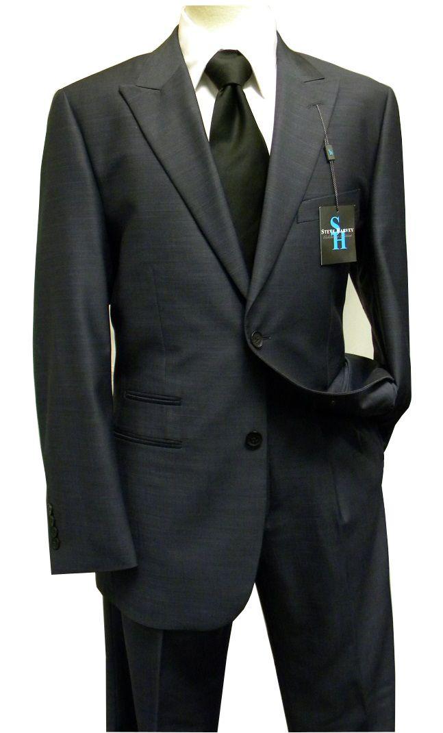 Steve Harvey Men's Blue Sharkskin 2 Piece Suit 7019