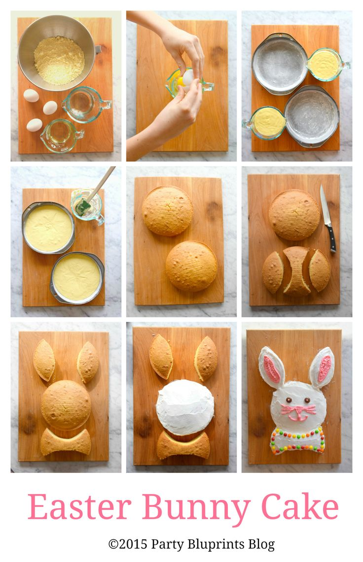 Nothing says Happy Easter or Spring like a Bunny Cake! Just follow these easy instructions to build your own Easter Bunny Cake – involve the kids and let them use their creativity to give Mr. Bunny an original look.  - Party Bluprints