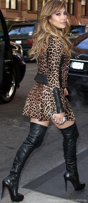 JLo Leopard Street StyleThighs High Boots, Fashion, Jennifer Lopez, Jlo, Street Style, Animal Prints, Leopards Prints, Christian Louboutin, Jenniferlopez