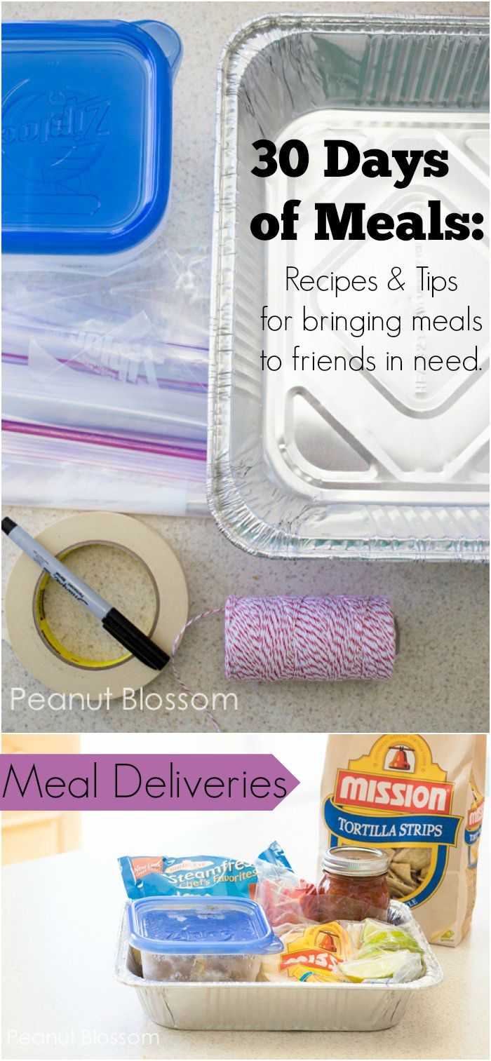 Meal ideas to take to new moms or families in need. Excellent tips, too!