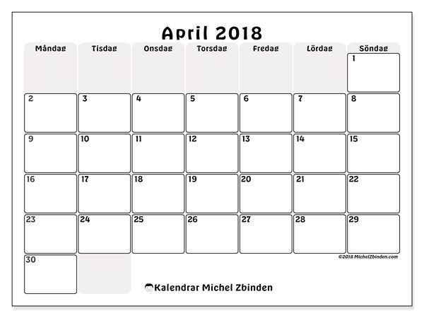 Kalender april 2018 (44MS). Gratis utskrivbara kalender.