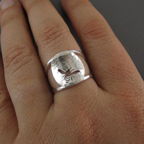 Hammered Honey Bee Ring  | Call A1 Bee Specialists in Bloomfield Hills, MI today at (248) 467-4849 to schedule an appointment if you've got a stinging insect problem around your house or place of business! You can also visit www.a1beespecialists.com!