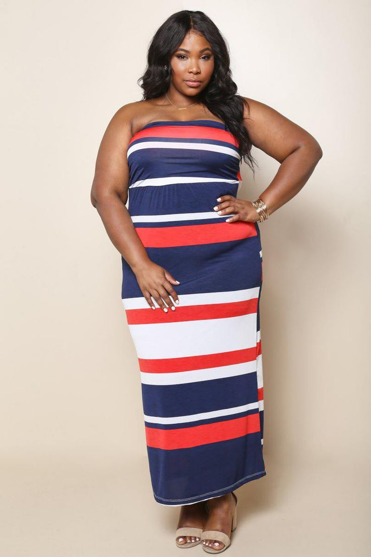 Plus Size Nautical Maxi Dress Coral