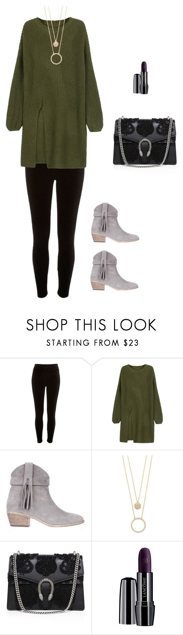 """""""olive u"""" by meditate ❤ liked on Polyvore featuring River Island, WithChic, Joie, Kate Spade, Gucci, Lancôme, Boots, olive, Leggings and boldcolor"""