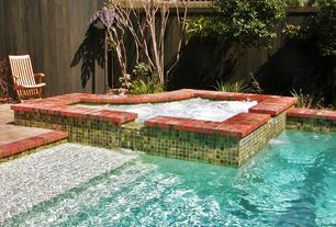 Transitional Hot Tub with exterior stone floors, Fence, Pool with hot tub, exterior brick floors