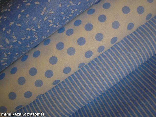 bavlna SVĚTLE MODRÁ VARIACE   větlemodrý proužek 50 cm.
