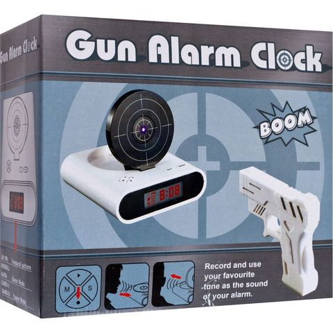 Description Battling to get out of bed now that the mornings are getting darker? What you need is the Gun Alarm Clock. Here's why: first off, it doesn't have a snooze button. Instead, you have to hit