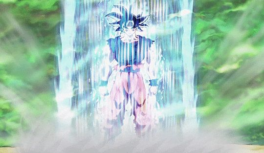 Goku powers up his Ultra Instinct