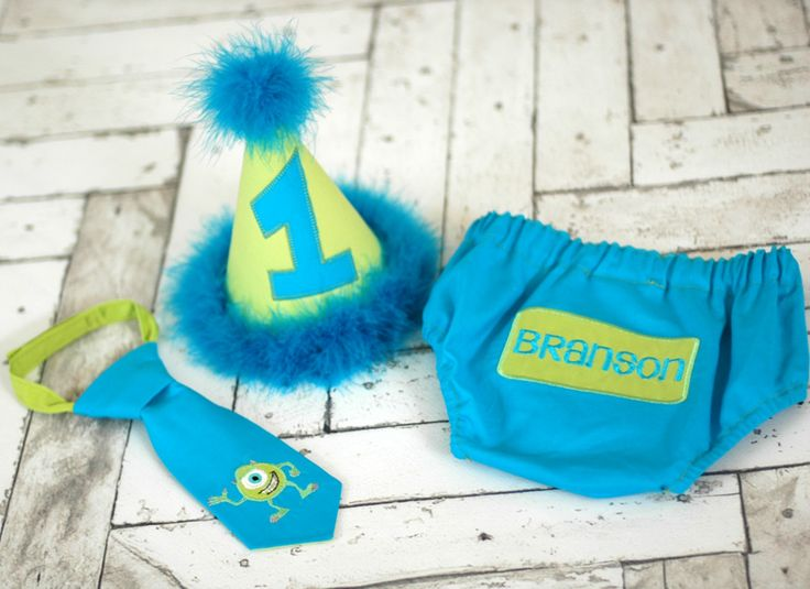 Boys Birthday Party Hat, Diaper Cover, Tie - First Birthday, Smash Cake Pics, Photo Prop - Little Monster Lil Monster Monsters Inc.  Monsters Inc Cake Smash Outfit.  Wazowski Cake Smash.