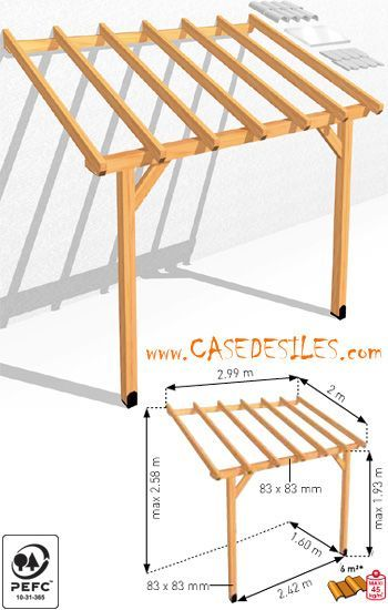 Auvent de terrasse bois adossant 6mc ABS3020 Pas Cher