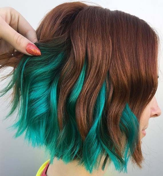 Amazing Hair Color Combinations For Short Haircuts Styles Absurd Styles Hair Styles Green Hair Colors Short Hair Color